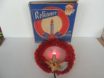 old christmas cellophane wreath electric candle bulb 9.5'' red w/box Santa