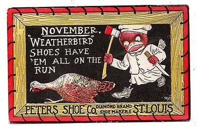"""ST. LOUIS MO. 1900's """"THE WEATHERBIRD SHOE CO.""""--PETERS SHOE CO.--WOWSER'S VIEW~"""