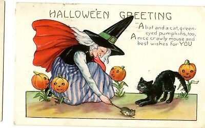 ~1920 Whitney Halloween Postcard Pumpkin Witch embossed mouse black cat