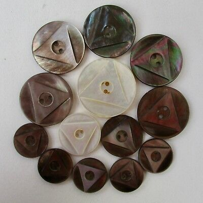 Set of 13 Smoky Mother of Pearl Sew-Thru Buttons w Carved Triangle