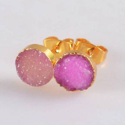 8mm Round Hot Pink Agate Druzy Geode Stud Earrings Gold Plated B071325