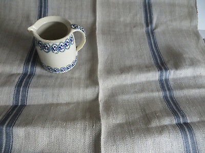 "Antique Homespun Fishbone Grain Sack Linen Fabric Blue Grey Str 39""by1.72Yards"