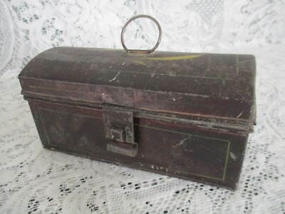 Small Antique Tin Keeper Box w Hand Painted Design Ring Lift Lid & Strong Latch