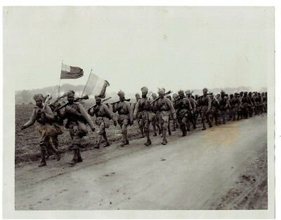 WWI PRESS PHOTO - India troops marching at Flanders