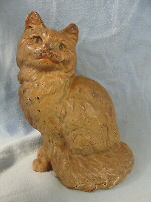 Vintage Antique Cast Iron Persian Sitting Cat Door Stop Hubley Large Size