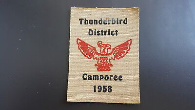 BSA, 1958 Camporee Canvas Patch, Stanford Area Council?, Thunderbird District