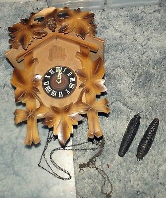 Old Bachmaier & Klemmer German Cuckoo Clock With Weights for Restoring or Parts