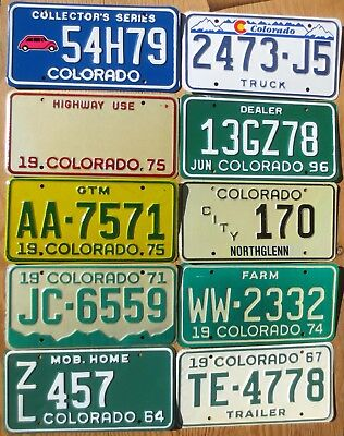Ten 10 Assorted Colorado License Plates Number Tag Plate Lot