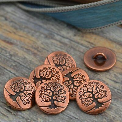 Tree of Life Metal Button Tierracast, Antique Copper Qty 4 to 20 Yoga Wrap Clasp
