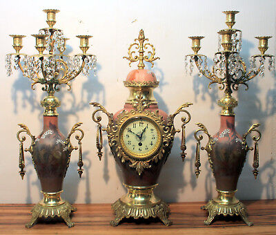 Antique Mantel Clock 19th century French clock garniture set in porcelain XL