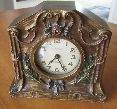 Antique Carved Wood New Haven Mantel Clock, 8 day jeweled balance, nonworking