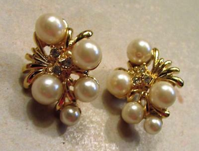 Vintage 60's Plastic Pearl Bead Glass Crystal Rhinestone Pierced Earrings
