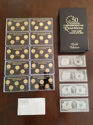 24k GOLD Plated State Quarter set, UNOPENED 1963 SILVER PROOF SET, $1 & $2 notes
