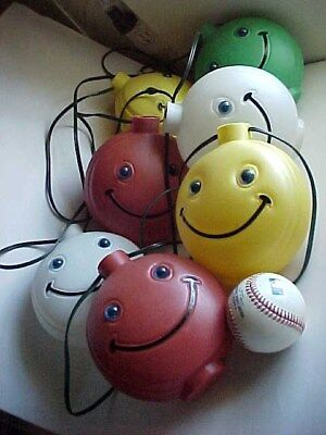 RARE vintage SMILEY FACE smile party STRING LIGHTS retro Blow Mold figurines