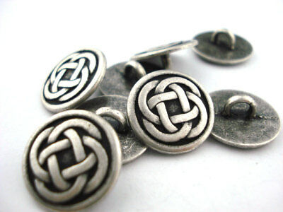 Celtic Knot Metal Buttons, Antique Silver Qty 4 to 20 Clothing or Jewelry Clasp