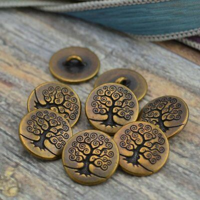 Tree of Life Metal Button Tierracast Antique Brass Qty 4 to 20 Bronze Yoga Clasp