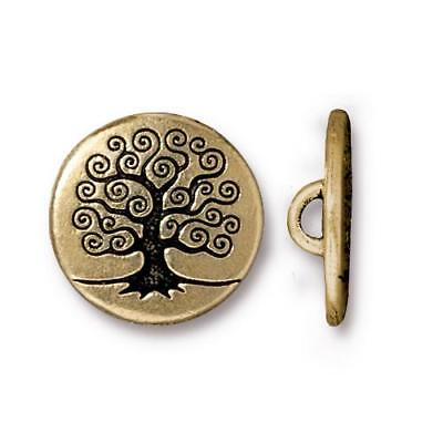 Tree of Life Metal Button Tierracast Antique Gold Qty 4 to 20 Leather Wrap Clasp