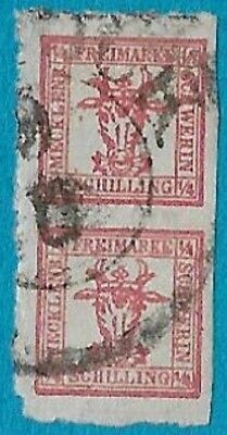 + 1864 Mecklenburg Schwerin German States Arms Crest #5a. A3 1/4s Pair used