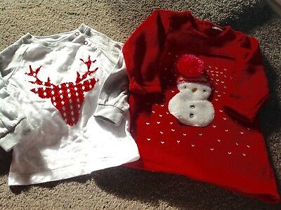 Blade & Rose Girls Reindeer Top & Next Red Christmas Dress Age 9-12 Months.
