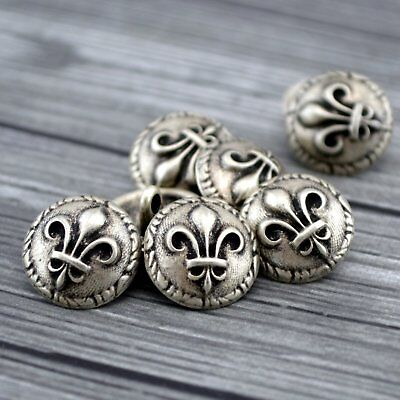 Fleur de LisMetal Buttons, Antique Silver Qty 4 to 20 Clothing or Jewelry Clasp