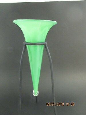 Contemporary Studio Art Glass Jadite Horn Vase With Stand