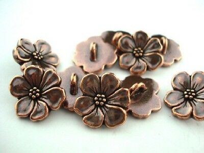 TierraCast Apple Blossom Metal Buttons Antique Copper Qty 4 to 20 Flower Clasps