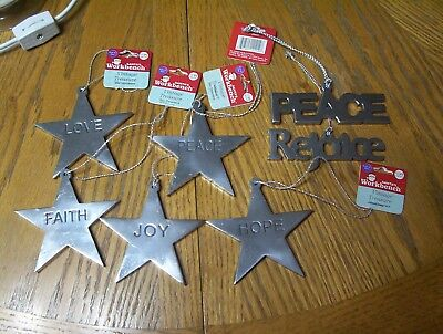 5 New Metal Star Tree Ornaments Peace Love Hope Joy Faith Pewter ? 2others
