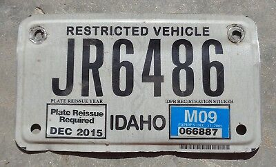Idaho  motorcycle size Restricted Vehicle license plate # JR6486