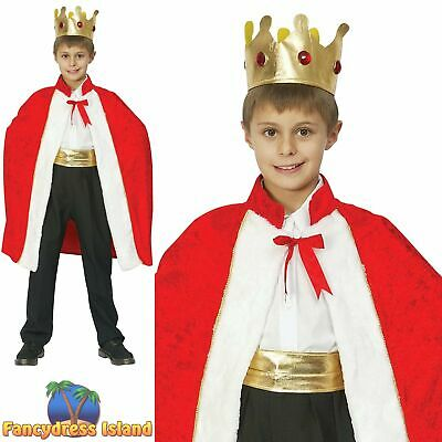 Boys Kids Medieval King Costume Tudor Prince Man Fancy Dress Up Outfit 4-9 NEW