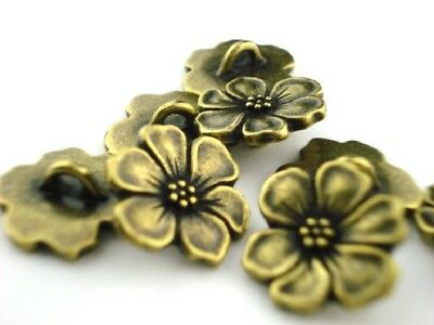 TierraCast Apple Blossom Metal Buttons Antique Brass Qty 4 to 20, Bronze Clasps