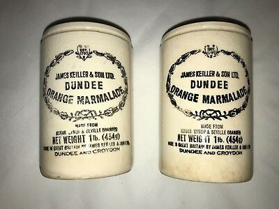 Vintage DUNDEE Orange Marmalade 1 lb. Jar, Stoneware CROCK, Set Of Two