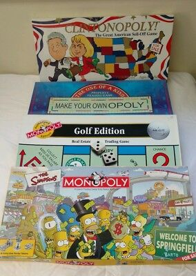 Lot Of 4 Collectible Monopoly Board Games • The Clintons • The Simpsons • Golf