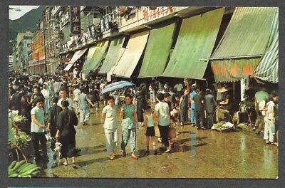 Wanchai, Hong Kong, China, Canal Road Market Place, 1950's Chrome Postcard