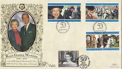 (19184) FDC St Lucia Benham FDC Queen DOUBLE DATED Wedding 1997 / Jubilee 2002