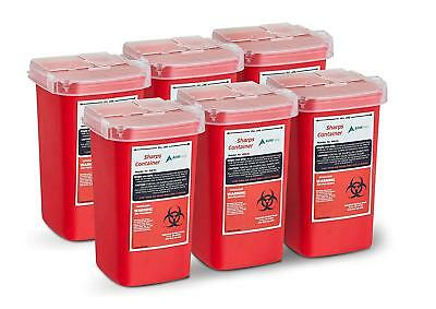 AdirMed Sharps and Needle Bio-hazard Disposal Container 1 Quart - 6 Pack