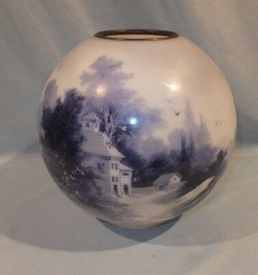 1880 - 1900 Cobalt Blue Delft Hand Painted Figural cabin  Ball Oil lamp shade