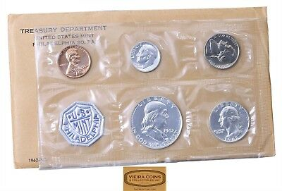 1962  Proof Set 90% Silver with Envelope & Coa, Envelope not Perfect- #B12321LOT