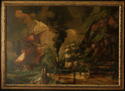 "Early 20th Century Oil Painting ""Port Scene with Ships"" Signed, Large Size"