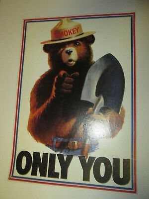 "Vintage Smokey the Bear Only You 13"" x 18.5"" Cardboard Poster Forest Service"