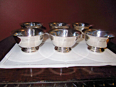 Lot of (6) Vintage Reed & Barton Ice Cream Bowls/Dishes Paul Revere Design # 14