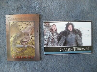 GAME OF THRONES CARDS Season 3 TV #1 First Card & #98 Last Card 2014 Rittenhouse