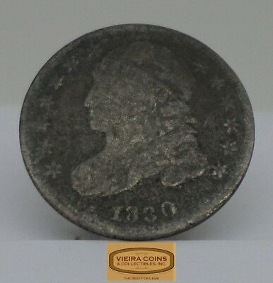 1830 Capped Bust Silver 10 Cents, Variety 2, Early Date Dime - #B12283