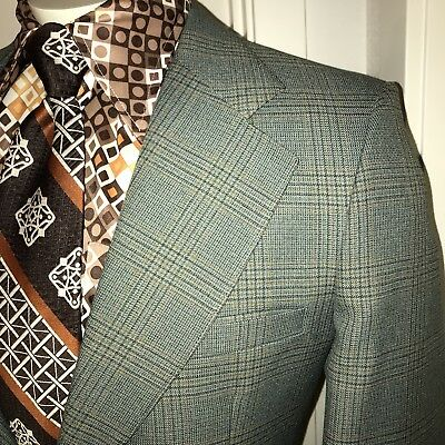 Vtg 60s 70s KNACK Gray PLAID Suit Jacket MENS 42 Long Sport Coat Blazer OLD MAN