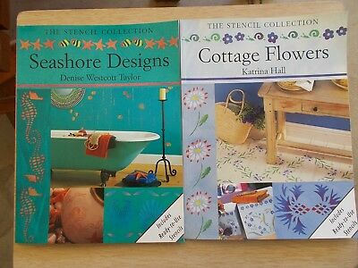 2 x The Stencil Collection~Seashore Designs & Cottage Flowers~1998/1999~P/Bs