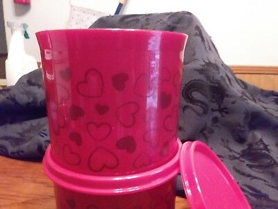 NEW Tupperware 20 oz Canister Set with Hearts Red!!!