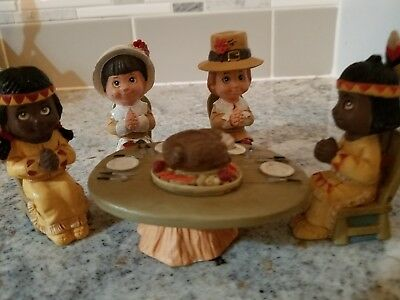 Miniature Ceramic Thanksgiving Feast with Pilgrims and Indians