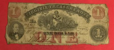 """1862 $1 RED Virginia """"US TREASURY NOTE"""" LARGE SIZE Currency! Old Paper Money"""