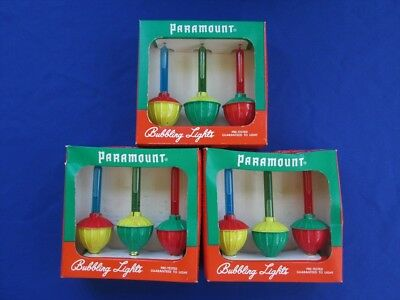 Vintage Paramount Bubble Bubbling Christmas Lights 3 Boxes of 3 Lights Each