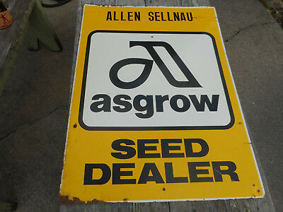 Vintage ASGROW Hybrid Seed Corn Dealer Metal Sign Advertising Farm