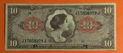 $10 Military Payment Certificate Series 641 Wartime MPC! Old US Currency